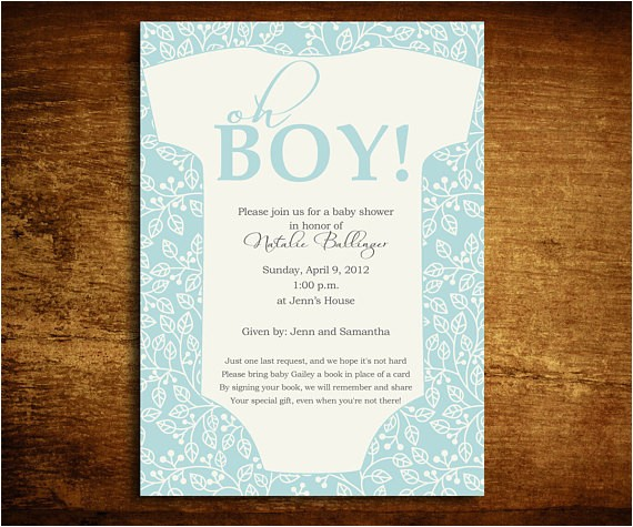 oh boy onesie baby shower invitation and