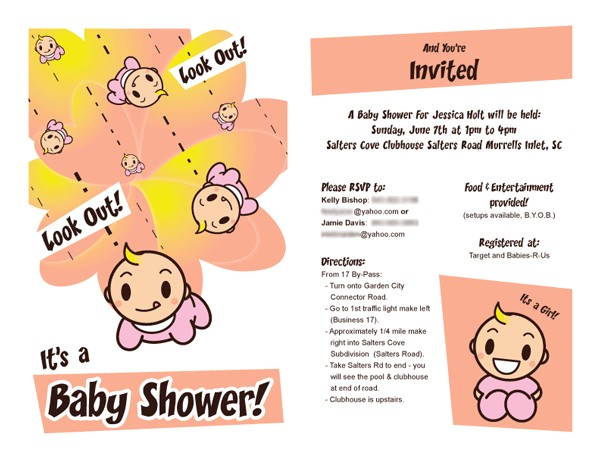baby shower email invitation