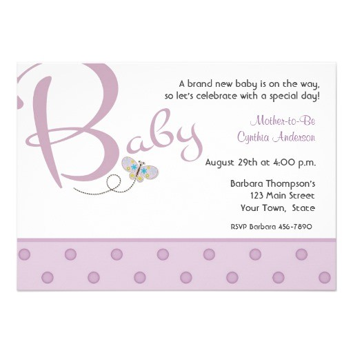 baby text purple baby shower invitation