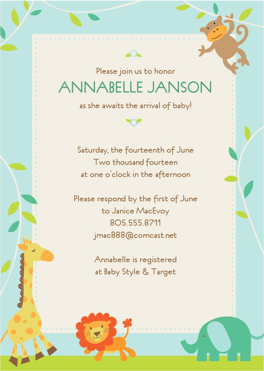 sample baby shower invitations text