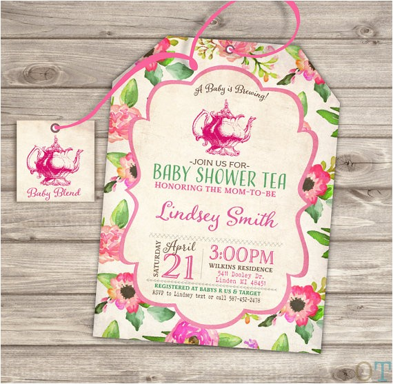baby shower tea party shower invitations