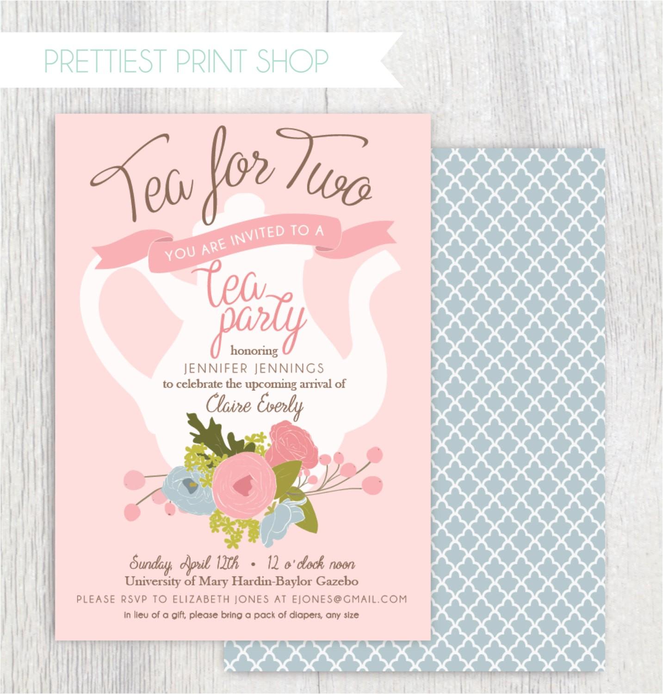Baby Shower Invites Tea Party theme Printable Tea Party Baby Shower Invitation Tea Pot Floral