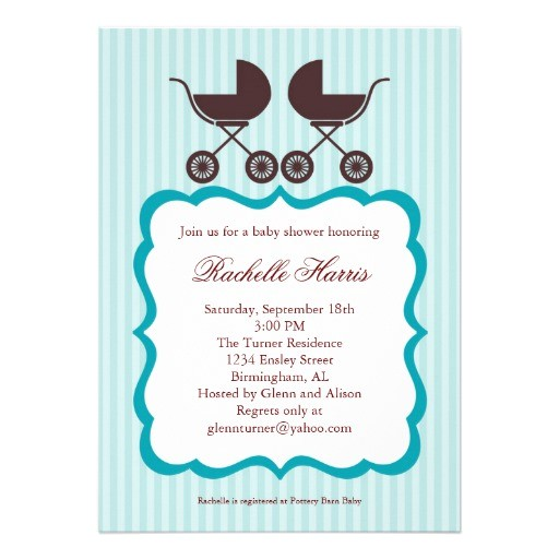 twin uni baby shower invitation