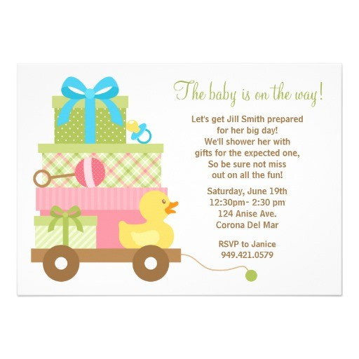 "Baby Shower Invites Unisex Uni Baby Shower Invitation 5"" X 7"" Invitation Card"
