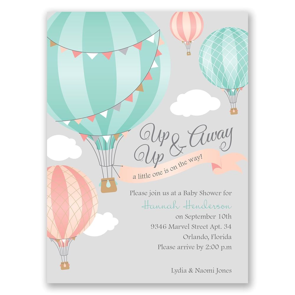 up up away petite baby shower invitation
