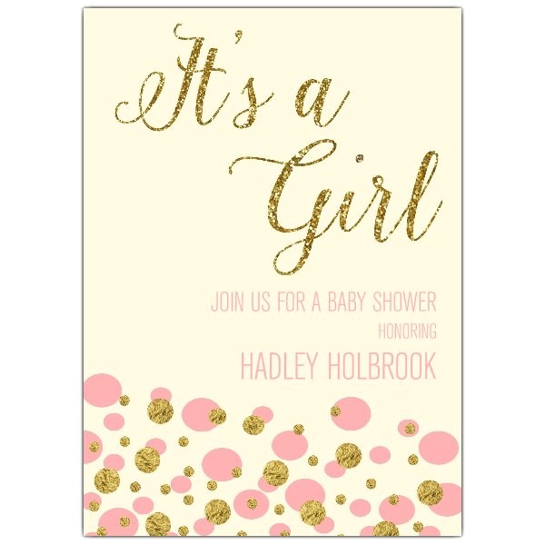 Bubbles Its A Girl Gilt Baby Shower Invitations p 603 57