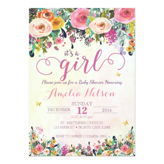 its a girl floral garden baby shower invitation