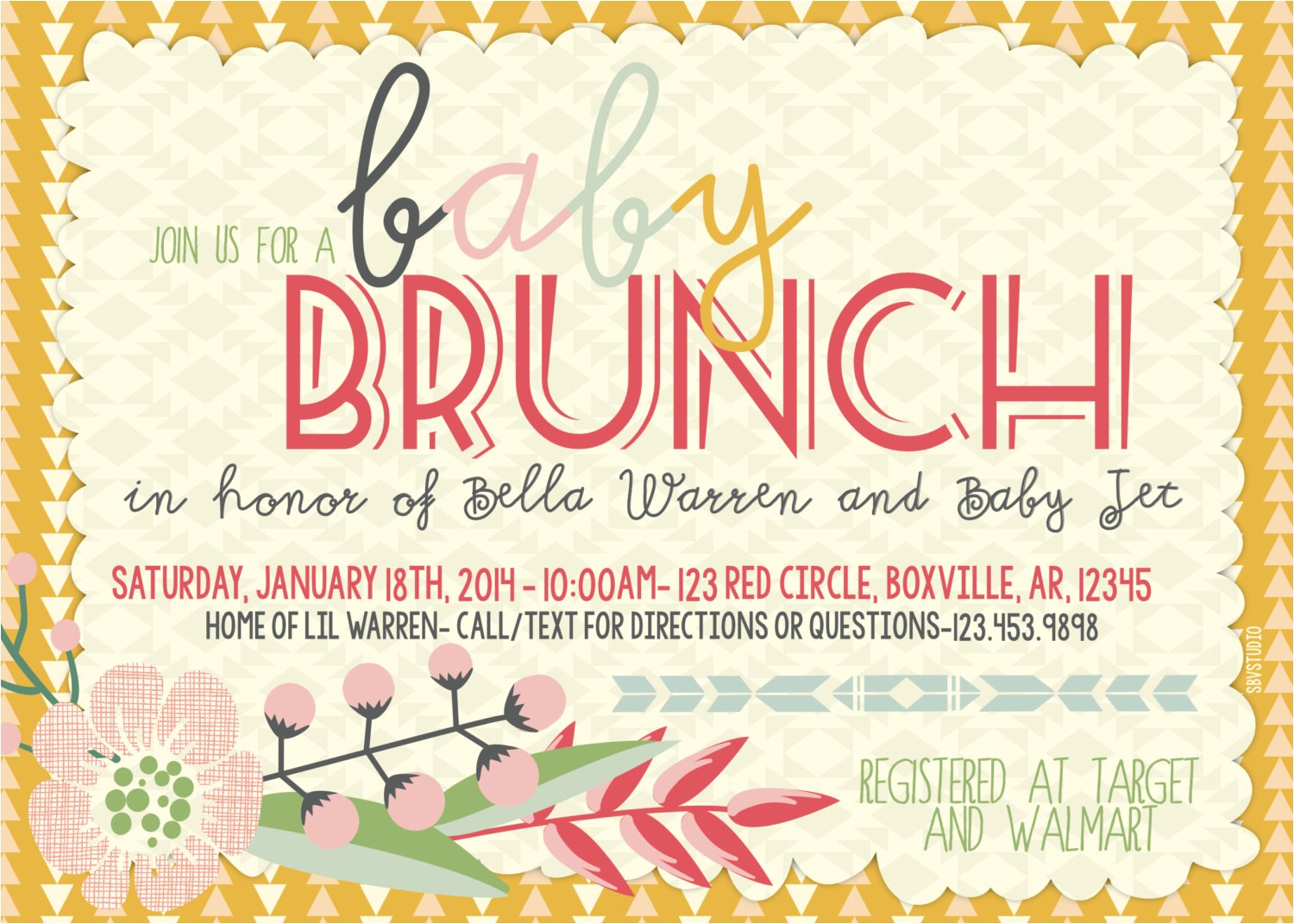 23 simple brunch invitation card designs for your inspirations