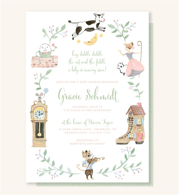 nursery rhyme baby shower invitation cow