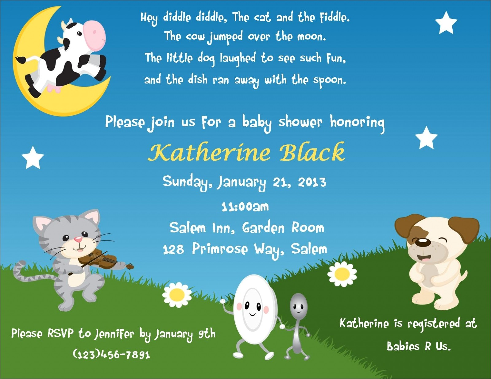nursery rhyme themed invitation digital file