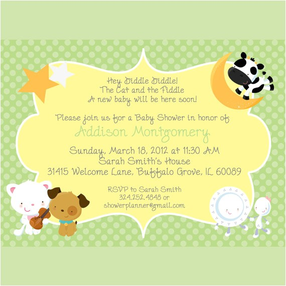 nursery rhymes baby shower invitation