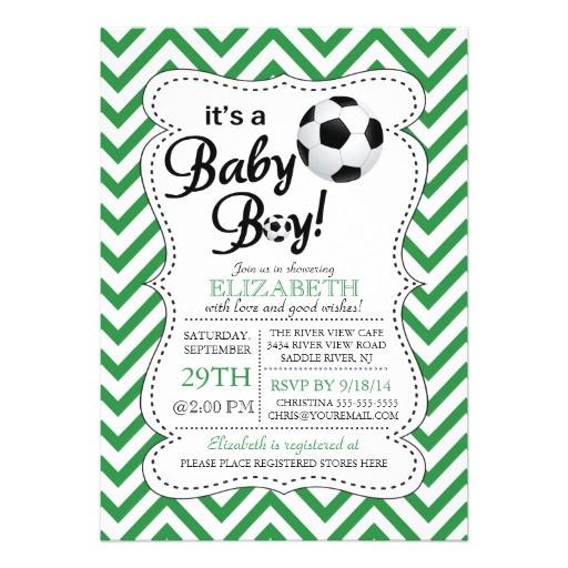 modern chevron its a baby boy soccer baby shower invitation