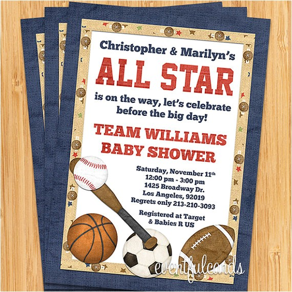 all star sports baby shower invitation