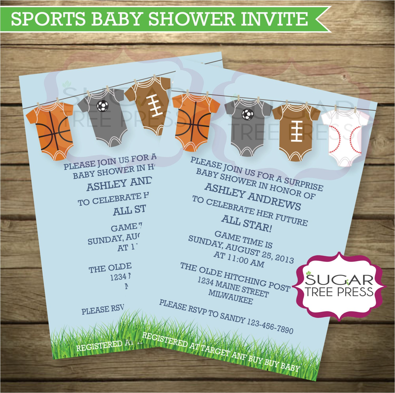sports baby shower invitation light blue