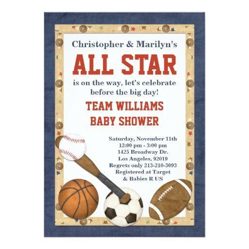 Baby Shower Sports Invitations Sports Baby Shower Invitations