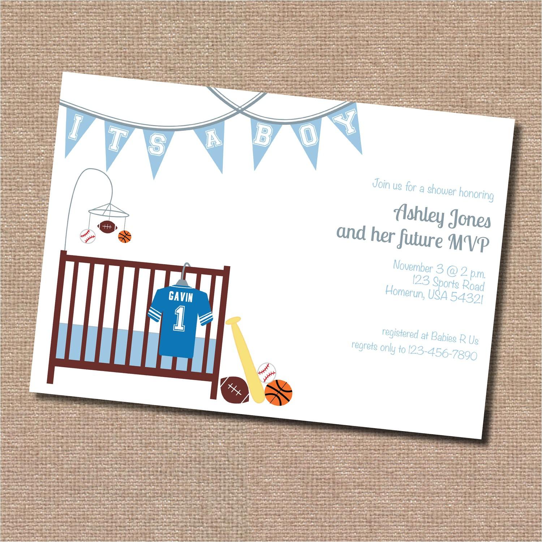 sports theme baby shower invitation