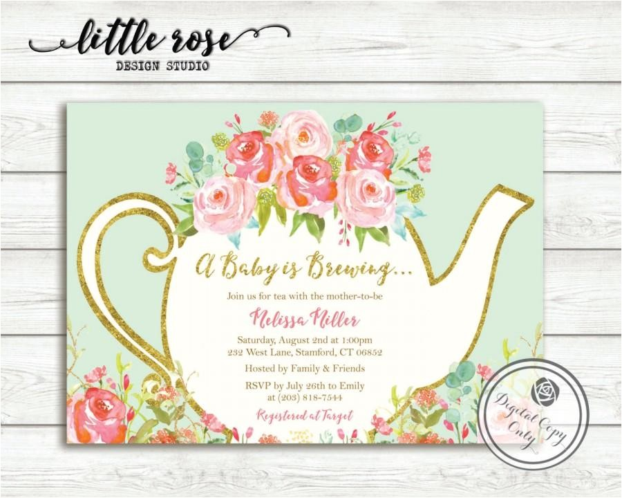 a baby is brewing baby shower tea party invitation garden tea party birthday high tea invite bridal tea printable lr1050