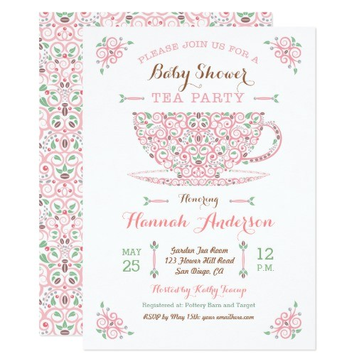 baby shower tea party baby girl ii invitation