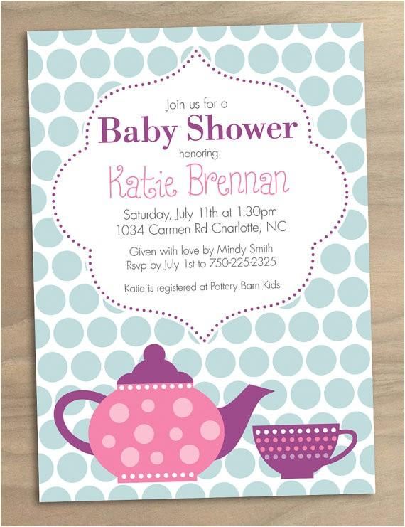 Printable Tea Party Baby Shower Invitation 15
