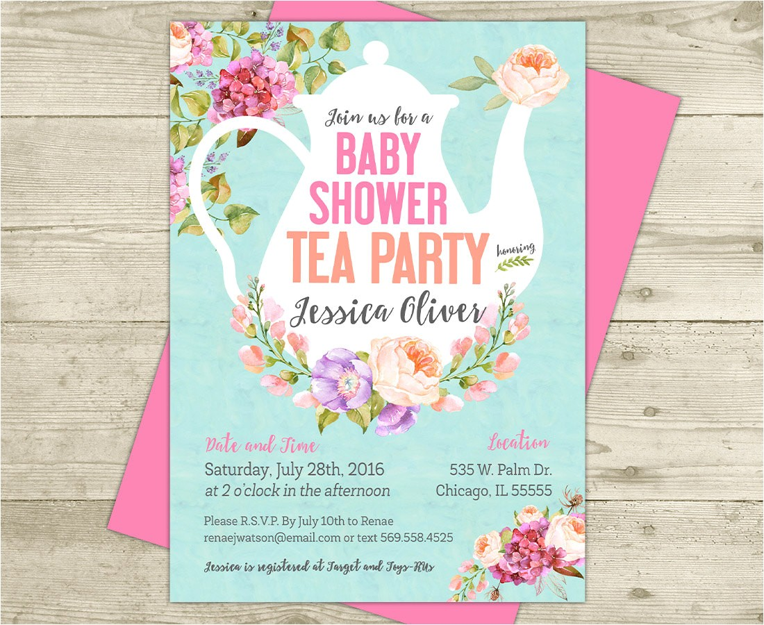 tea party baby shower invitation floral
