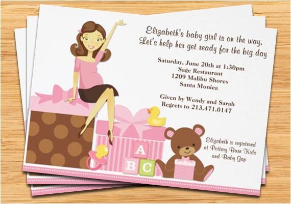 cute pregnant mom baby shower invitation