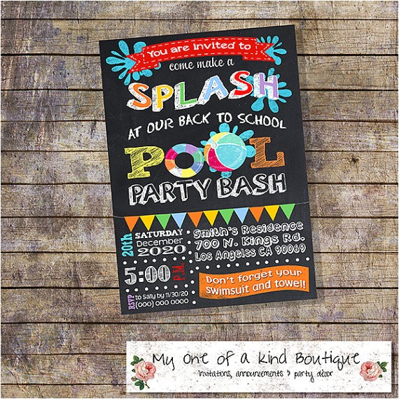 back to school pool party invitation