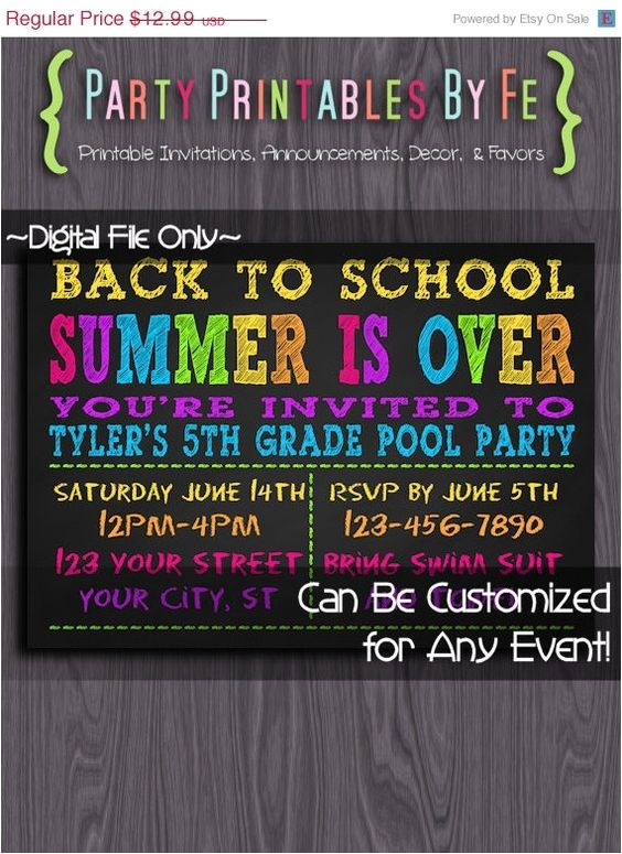 Back to School Pool Party Invitation On Sale Printable Pool Party Invitation School 39 S Out for