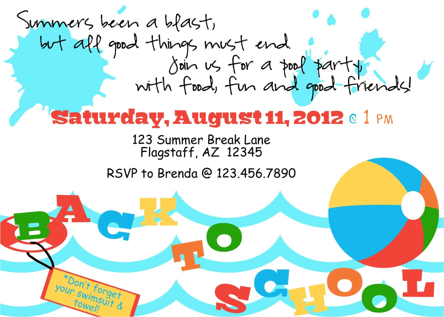 printable back to school pool party