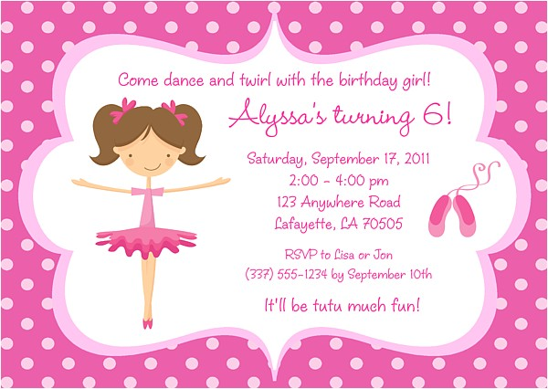 ballerina birthday invitations