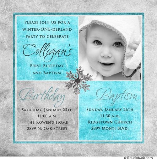 Baptism and Birthday Invitation 1st Birthday and Christening Baptism Invitation Sample