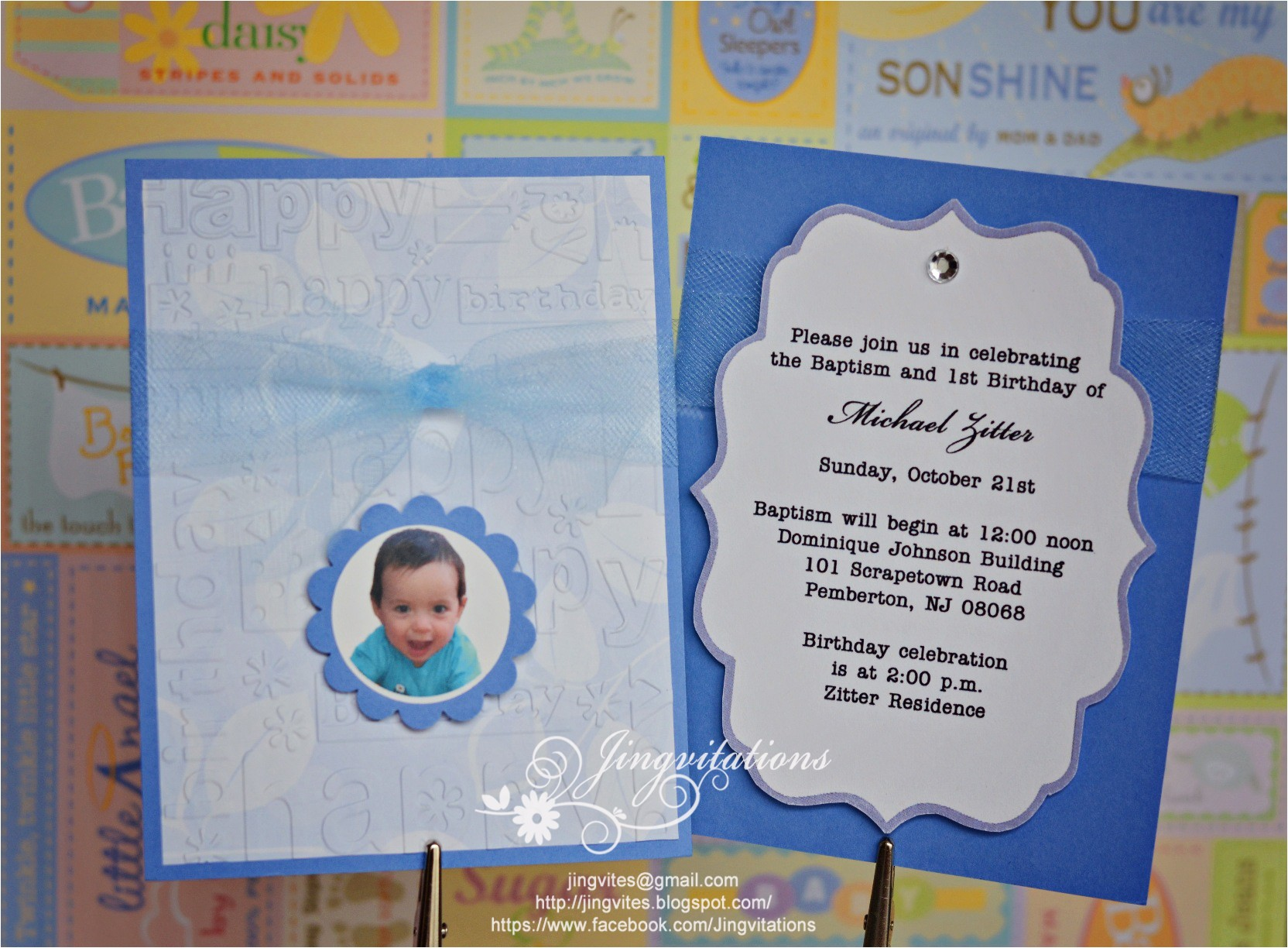 baptism and first birthday invitations