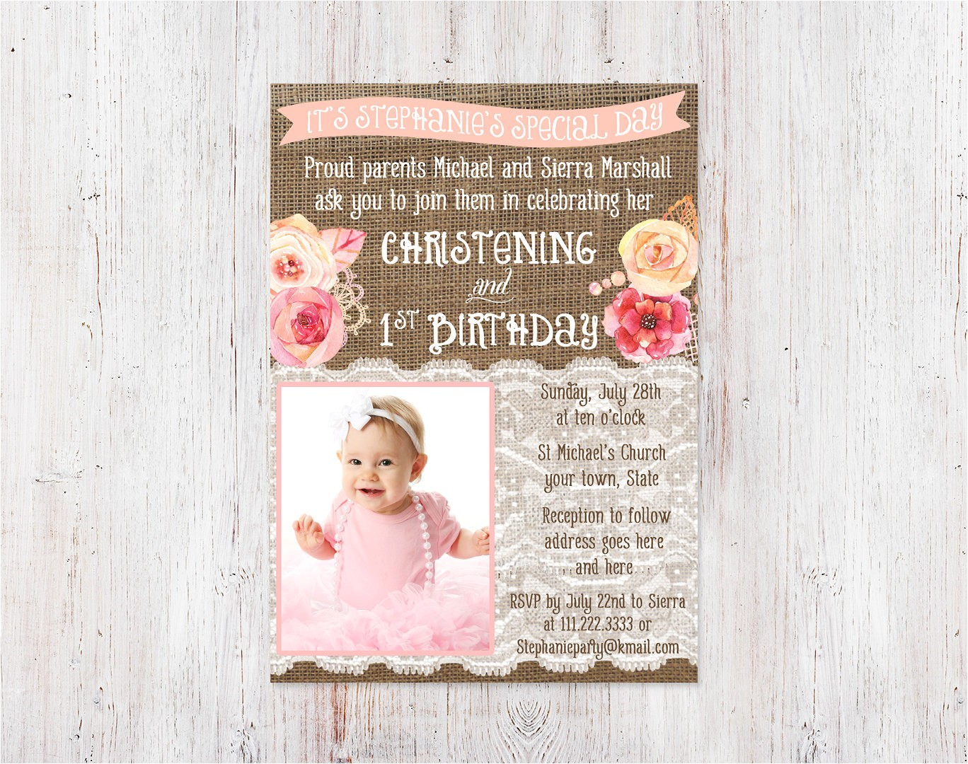 christening and 1st birthday invitations