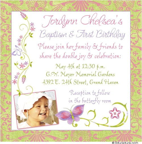 chic butterfly baptism and 1st birthday invitations