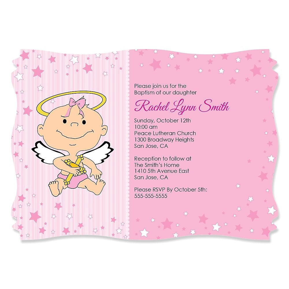 baby girl christening invitation card