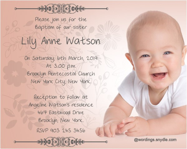 Baptism Invitation Message Baptism Invitation Wording Samples Wordings and Messages