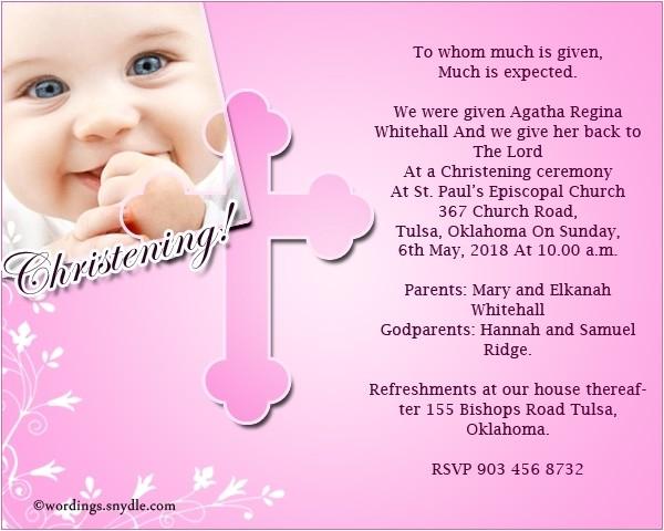 christening invitation text