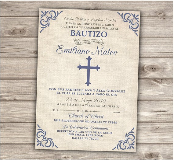 Baptism Invitations for Boy In Spanish Spanish Printable Baptism Christening Invitations Burlap