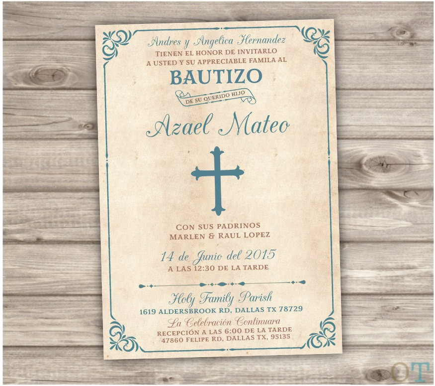 spanish printable baptism invitations