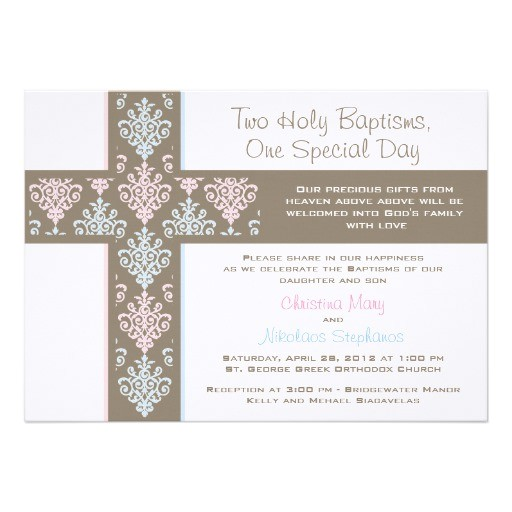 Baptism Invitations for Twins Boy and Girl Boy and Girl Twin Christening Invitation
