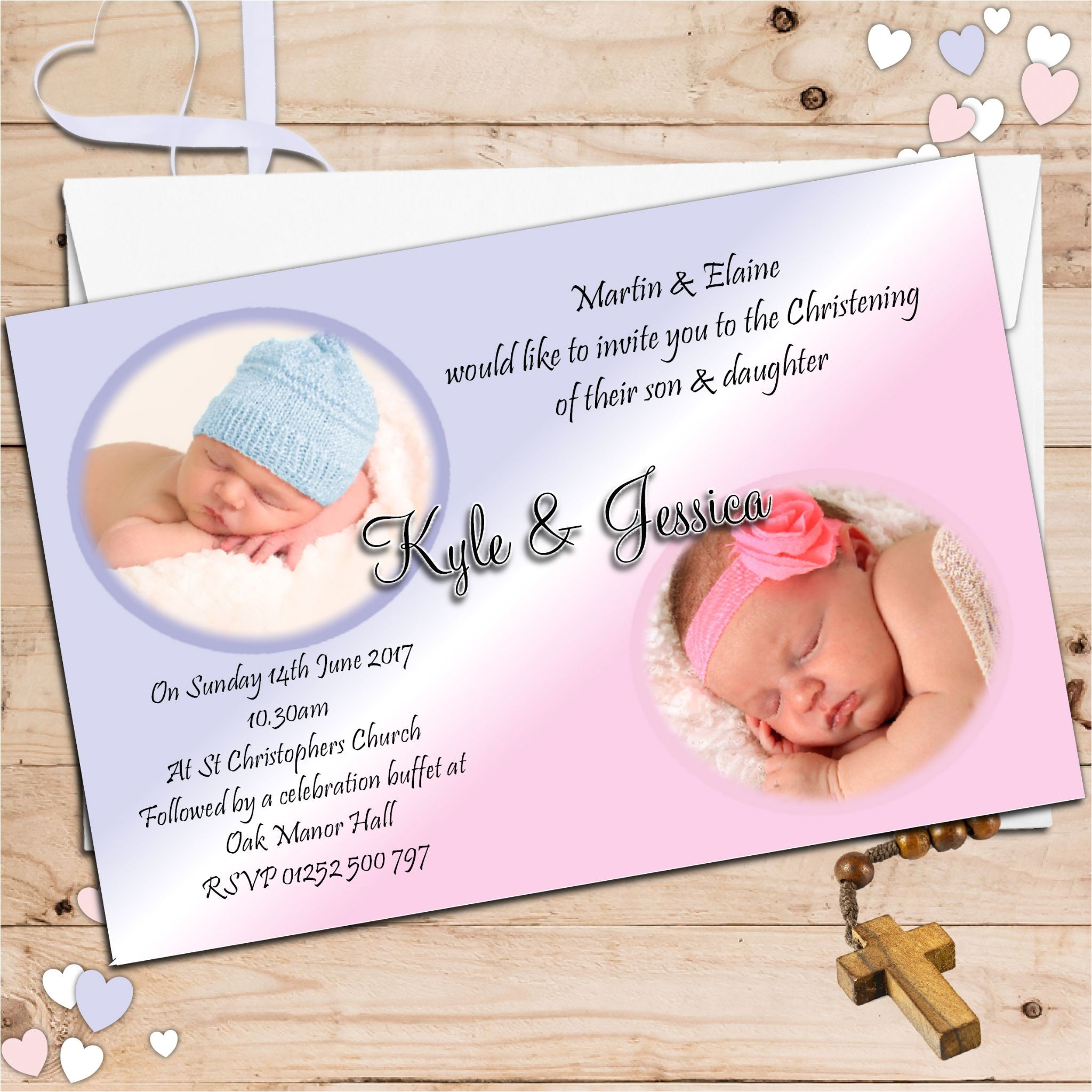 twin boy and girl baptism invitations