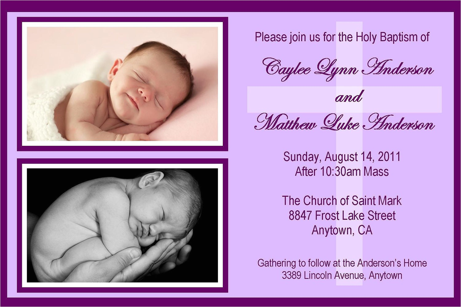 twins baptism invitation any color could