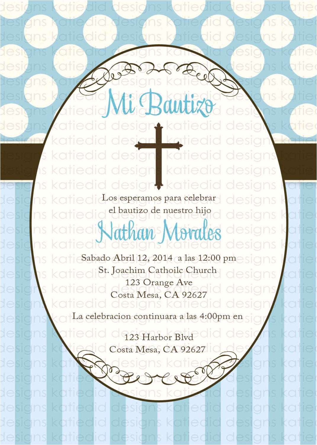 spanish baptism invitation christening