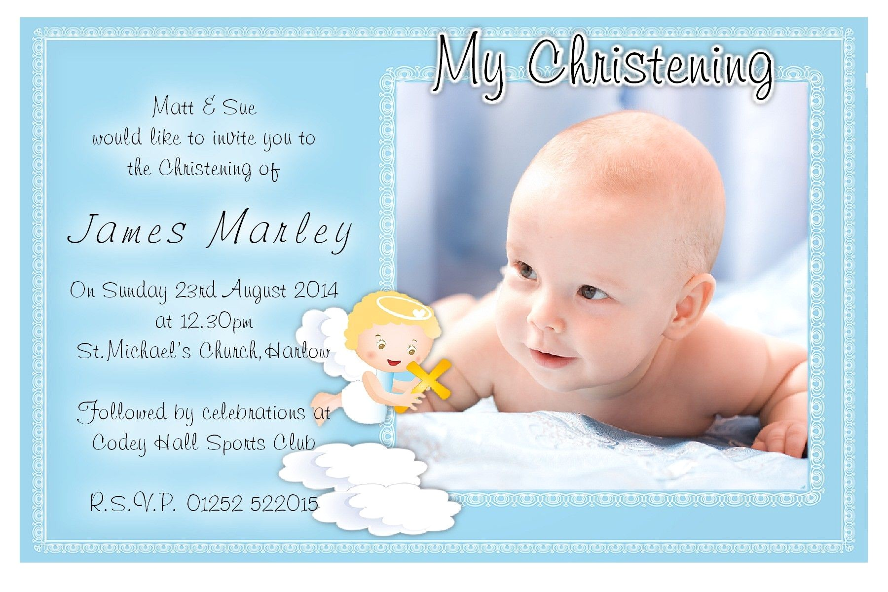 Baptism Invitations Postcard Style Free Christening Invitation Template