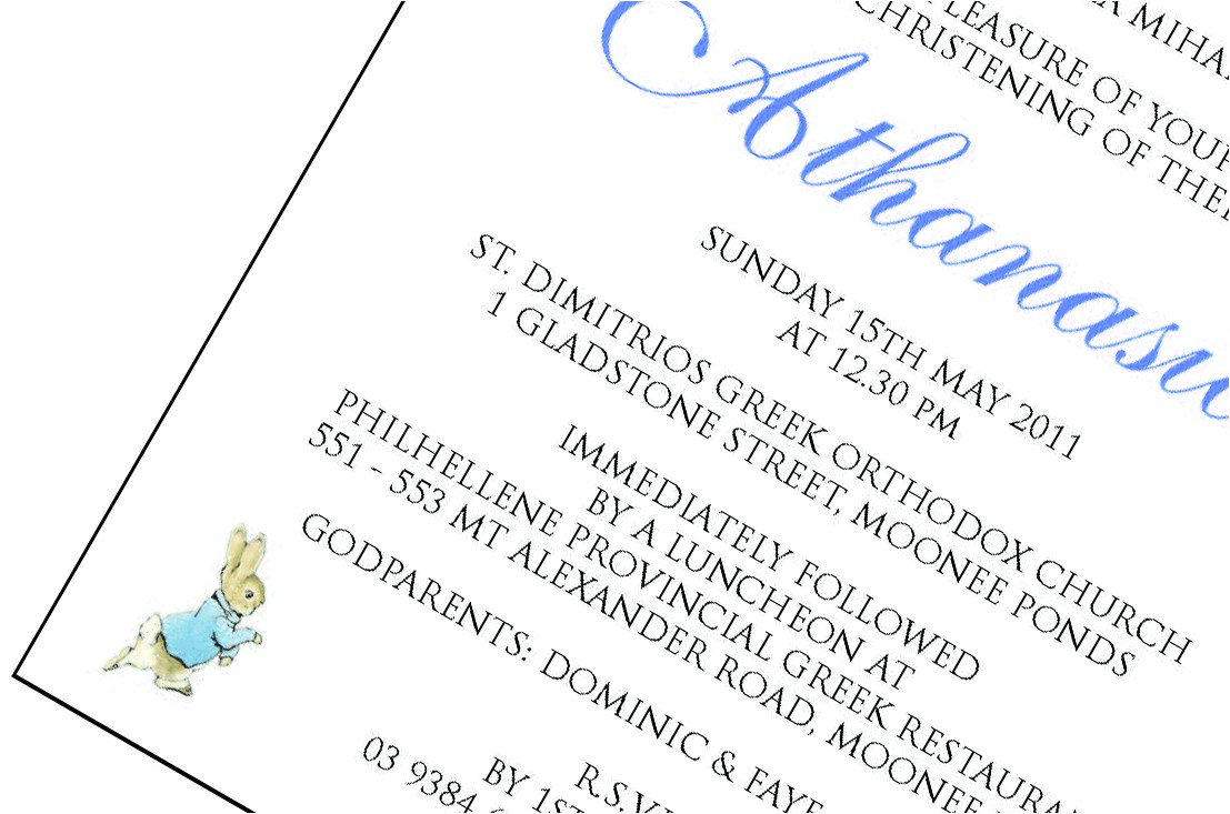 greek christening invitations