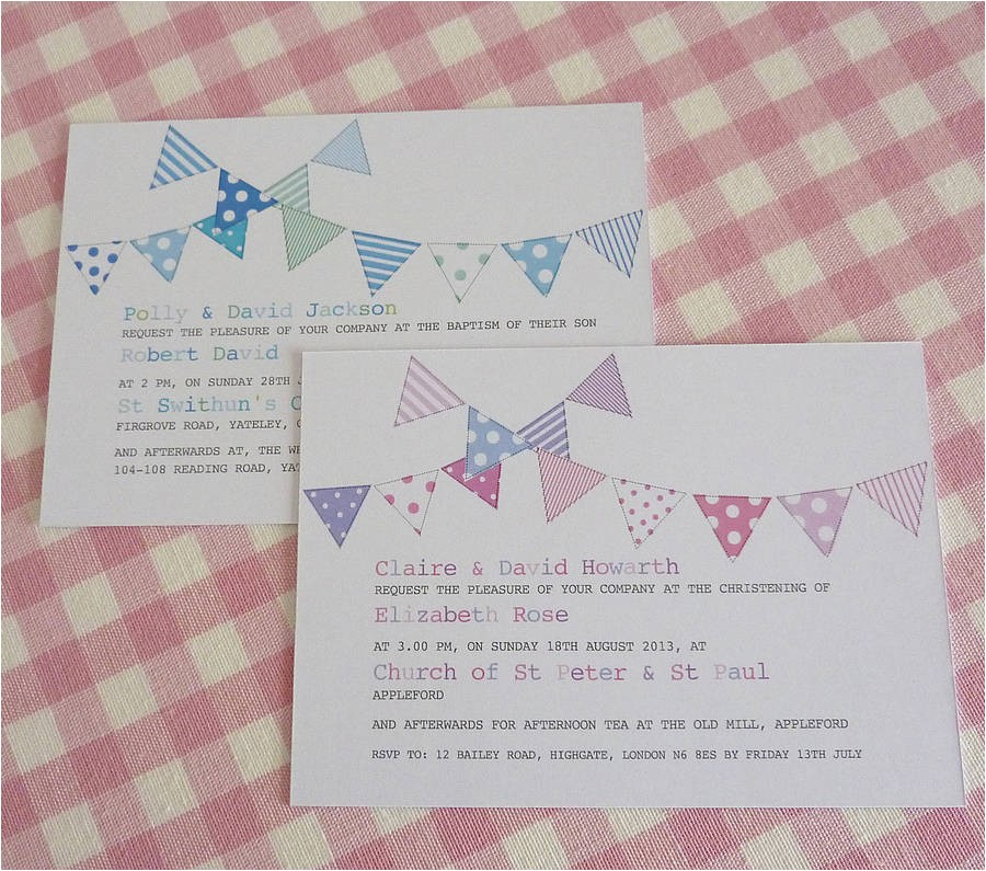bunting personalised christening invitations