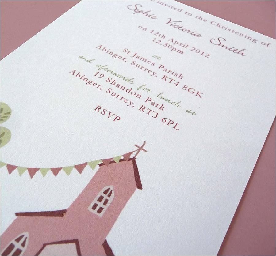 10 fully personalised christening invitations