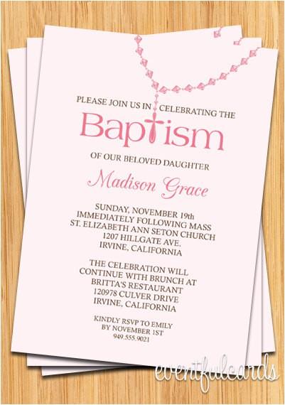 baby girl rosary baptism invitation
