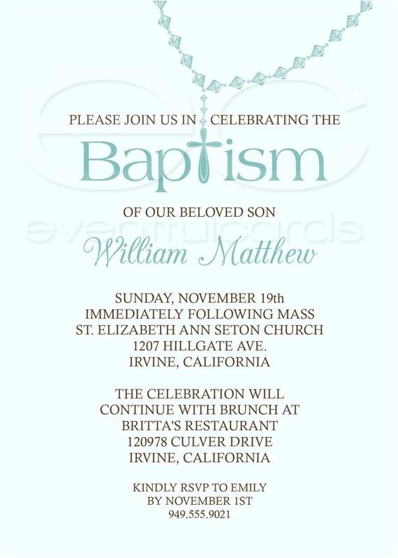 Baptism Wording for Invitations Baby Boy Baptism Invitation