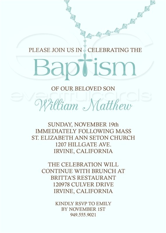 Baptism Wording Invitations Baby Boy Baptism Invitation