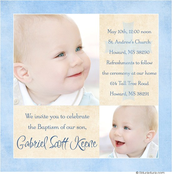 blue modern photo baptism invitation